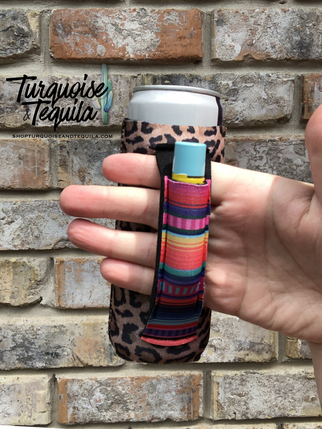 Slim Fit Can Cooler - Leopard and Serape