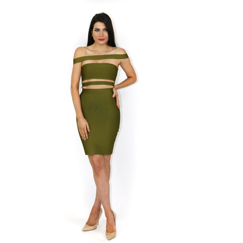 812fbb86d7c8 The  Sara  Off-Shoulder Khaki Bandage Mini Dress – Always Mae