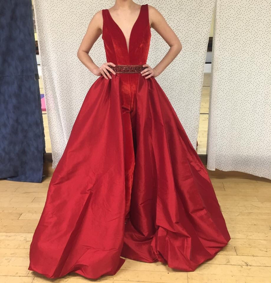 95ba975f7c Mac Duggal Pageant Line Red Jumpsuit with Detachable Over Skirt ...