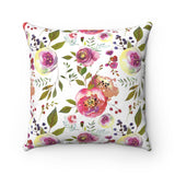 Pink Rose Square Pillow, Decorative Throw Pillow with Roses, Pink Rose Decorative Throw Pillow
