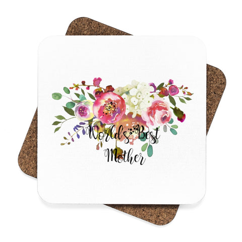 World's Best Mother Square Hardboard Coaster Set - 4pcs