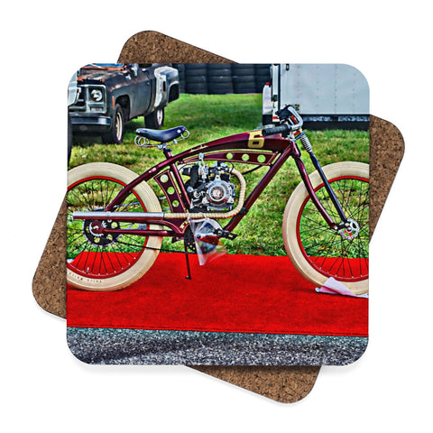 Indian Bicycle Square Hardboard Coaster Set - 4pcs