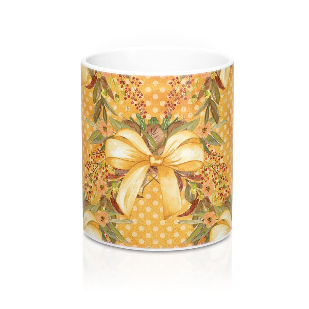 Autumn Tone Bows and Fall Flowers Mug 11oz