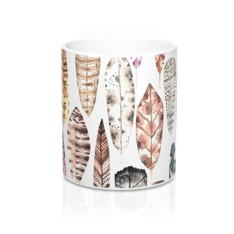 Boho Feather Earth Tone Mug 11oz