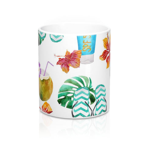 Beach Flip Flops and Tropical Drinks Mug 11oz