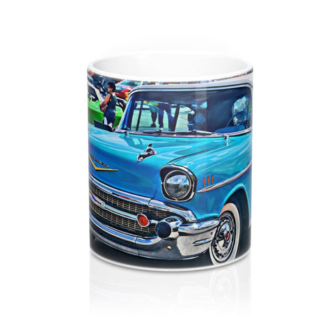 1957 Chevrolet Bel Air Tri Five Custom Car Hotrod Mug 11oz, Coffee Mug for Guys, Hotrod Coffee Mug