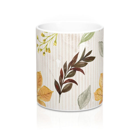 Autumn Leaves Mug 11oz, Fall Decor Coffee Mug, Earthtone Coffee Mug