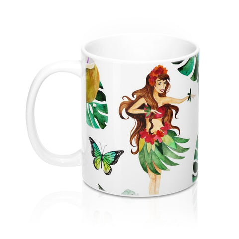 Aloha Mug 11oz, Hawaiian Coffee Mug, Tropical Flower Coffee Mug, Beach Coffee Mug