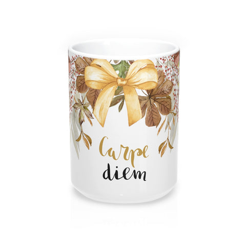 Carpe Diem Fall Flower and Bow Mug 15oz