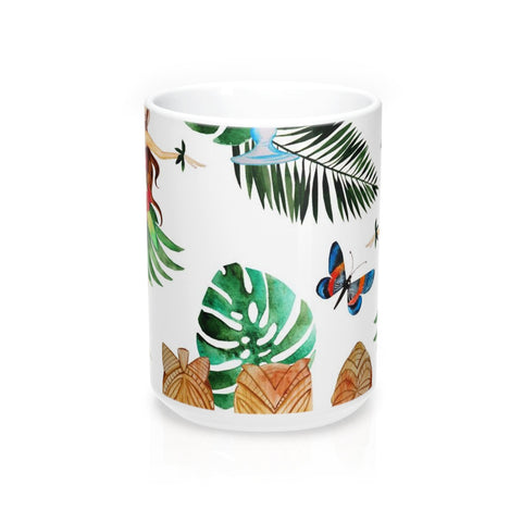 Aloha Mug 15oz, Hawaiian Coffee Mug, Tropical Flower Coffee Mug, Beach Coffee Mug