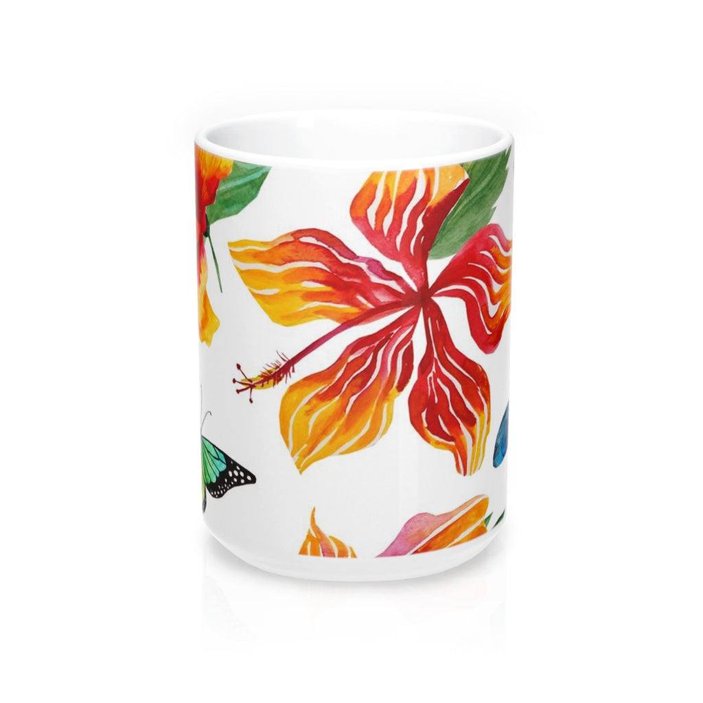 Tropical Flowers and Butterflies Mug 15oz