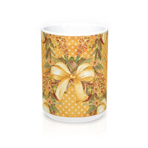 Autumn Tone Bows and Fall Flowers Mug 15oz