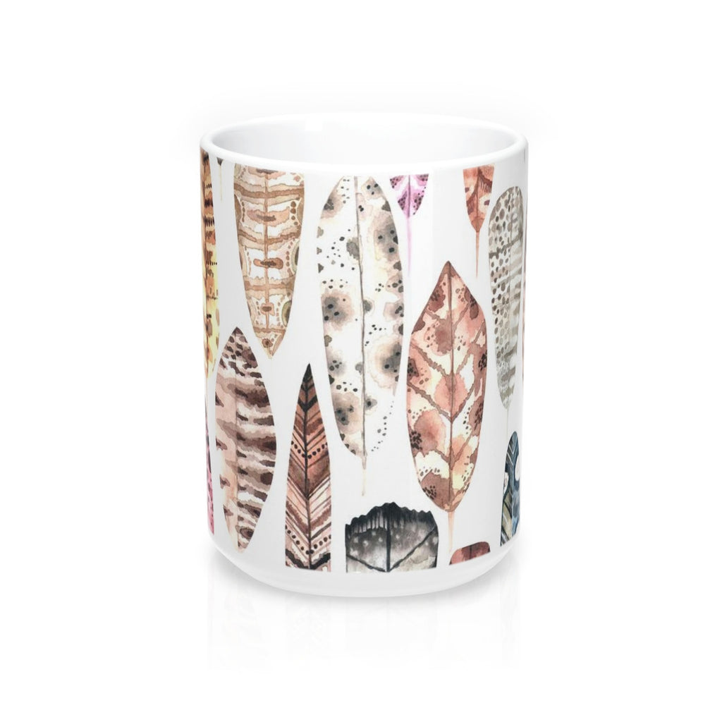 Boho Earth Tone Feather Mug 15oz