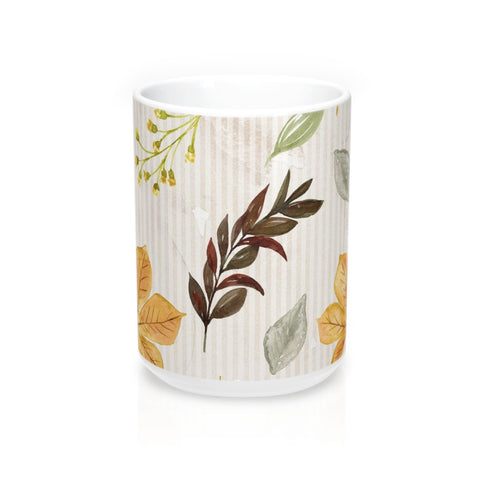 Autumn Leaves Mug 15oz, Fall Decor Coffee Mug, Earthtone Coffee Mug