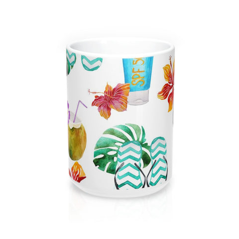 Beach Flip Flops and Tropical Drinks Mug 15oz
