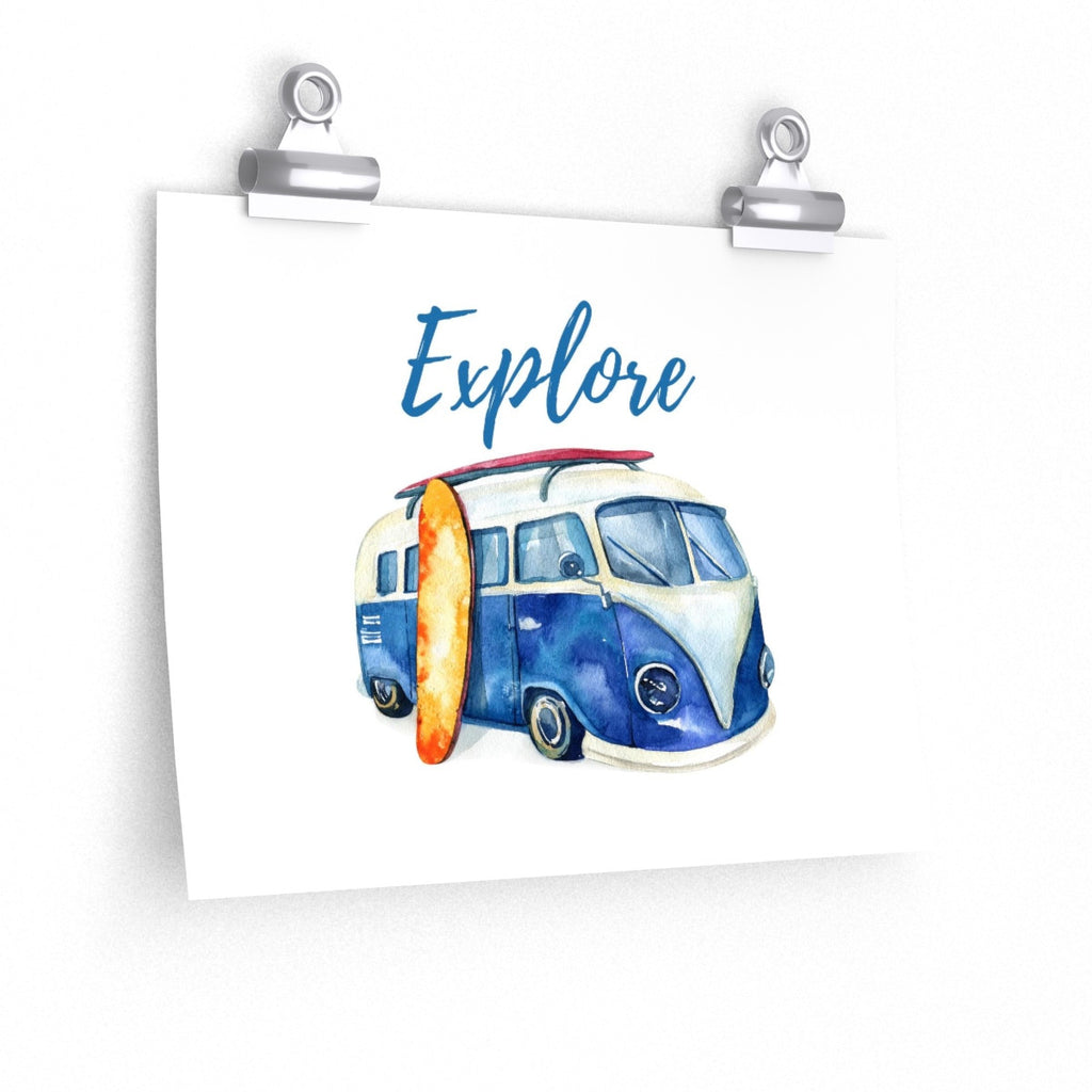 VW Bus Surfboard Explore Beach Theme Posters