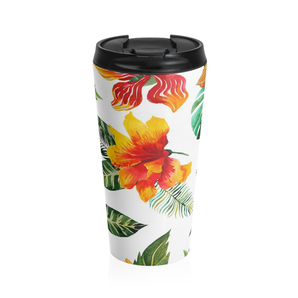 Hibiscus Bloom Flower Stainless Steel Travel Mug 15 oz