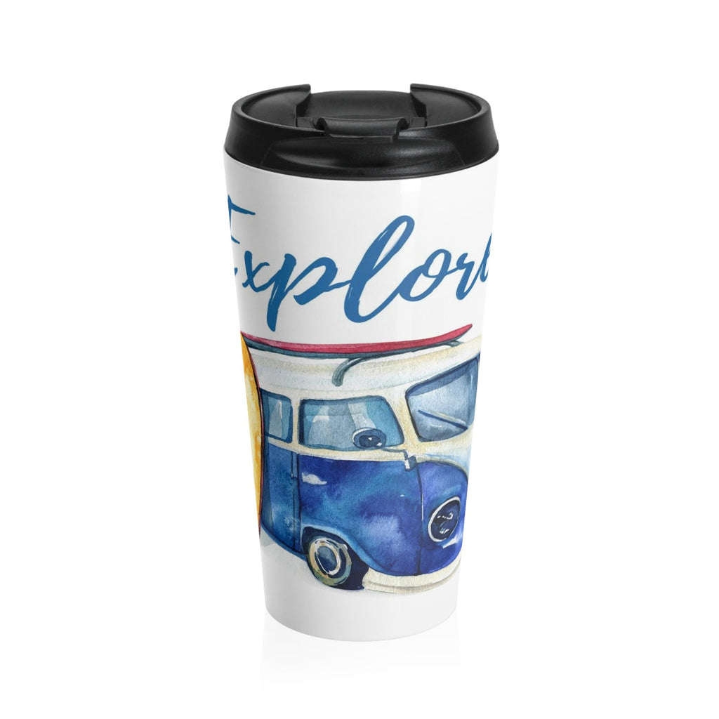 VW Van Surfboard Explore Beach Stainless Steel Travel Mug 15 oz