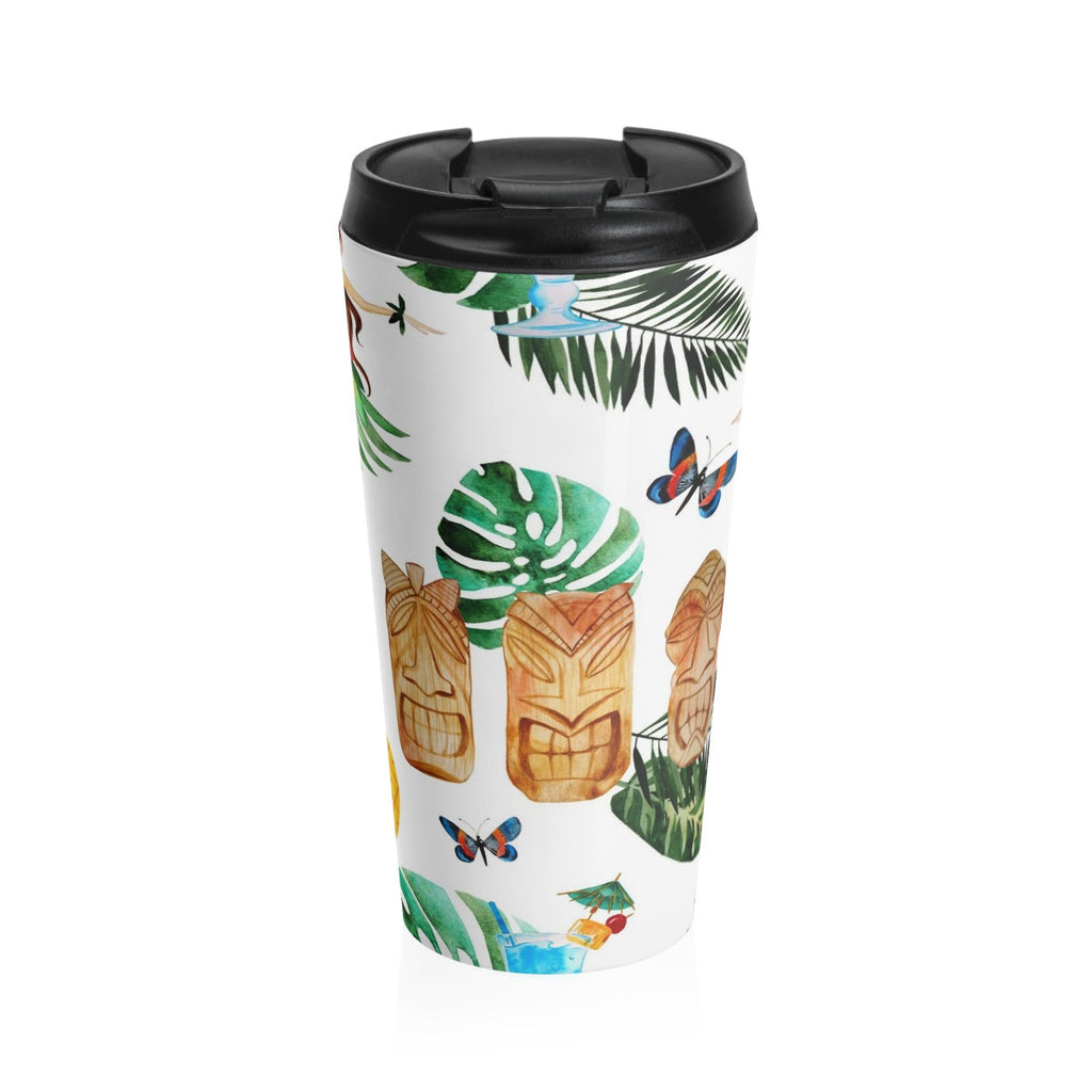 Aloha Stainless Steel Travel Mug, Beach Coffee Mug, Tropical Flower Coffee Mug