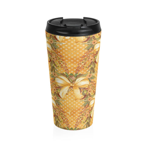 Autumn Tone Bows and Fall Flowers Stainless Steel Travel Mug 15 oz