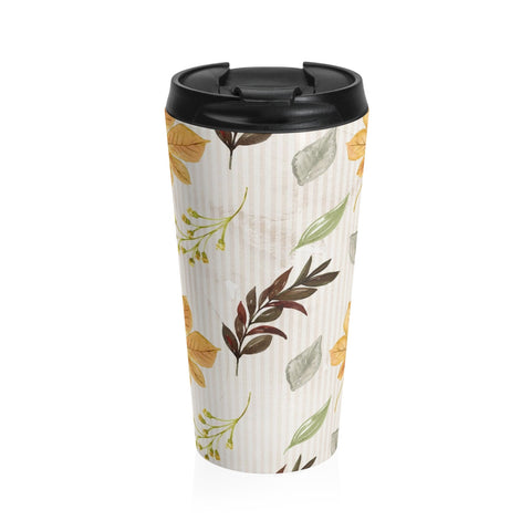 Autumn Fall Leaves Stainless Steel Travel Mug, Fall Decor Coffee Mug, Earthtone Coffee Mug