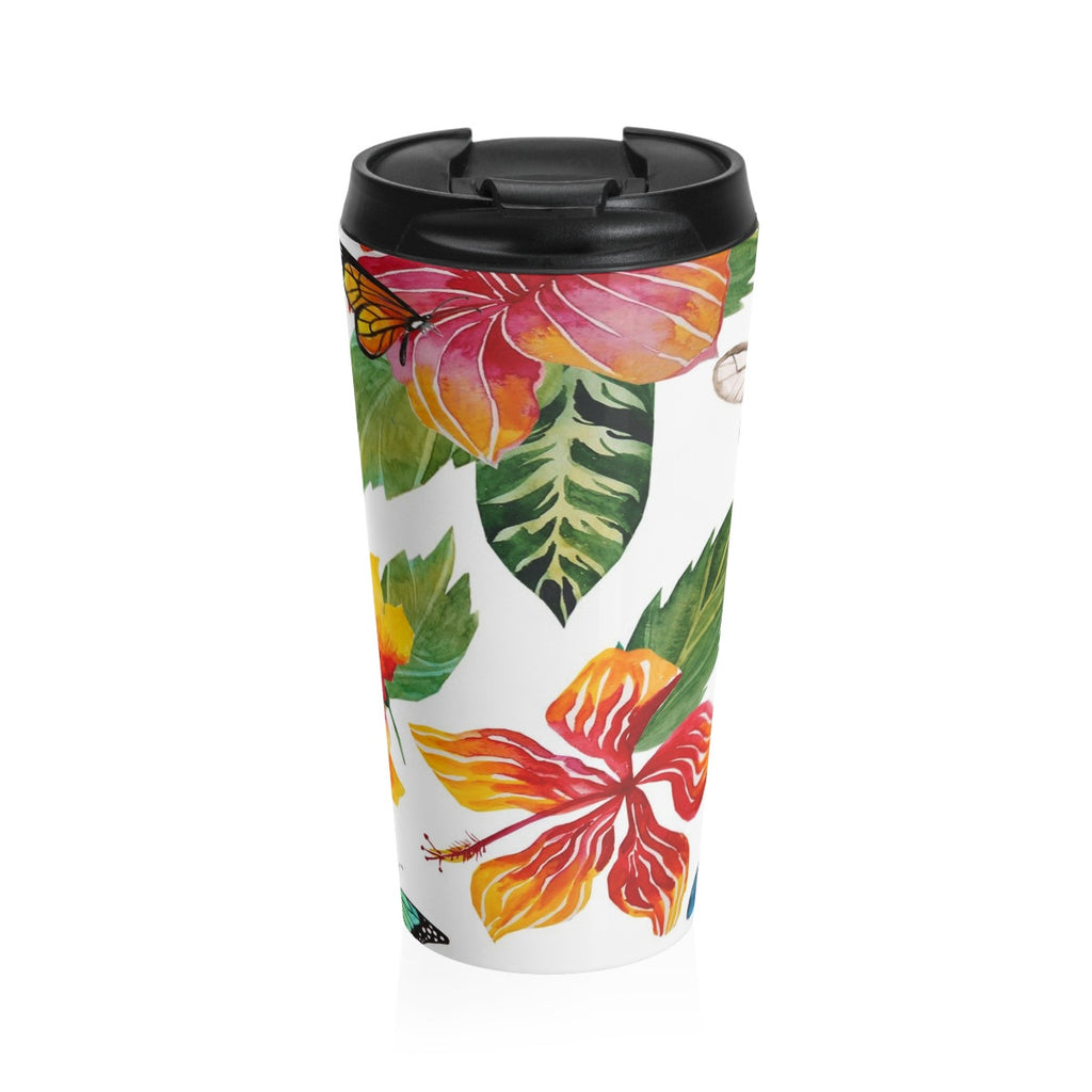 Tropical Flowers and Butterflies Stainless Steel Travel Mug 15 oz