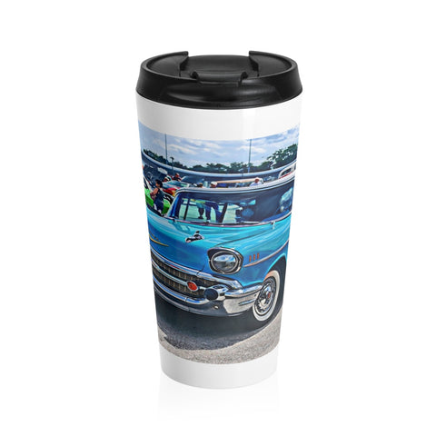 1957 Chevrolet Bel Air Tri-Five Custom Car Hotrod Stainless Steel Travel Mug, Coffee Mug for Guys, Hotrod Coffee Mug