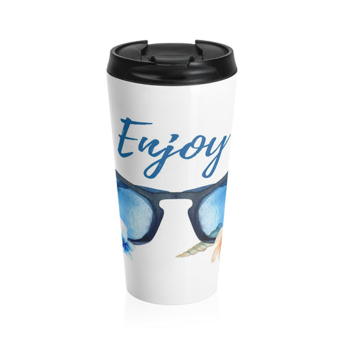 Beach Theme Sunglasses Stainless Steel Travel Mug 15 oz