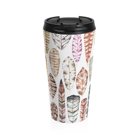 Boho Earth Tone Feathers Stainless Steel Travel Mug 15 oz