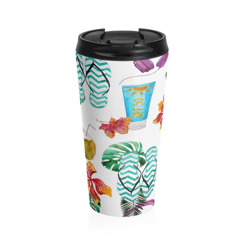 Beach Flip Flops and Tropical Drinks Stainless Steel Travel Mug 15 oz