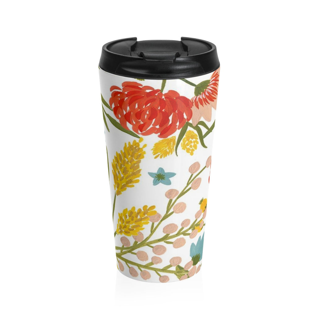 Summer Flower Stainless Steel Travel Mug 15 oz