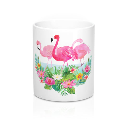 Tropical Flowers and Pink Flamingo Coffee Mugs 11 oz 15 oz Ceramic