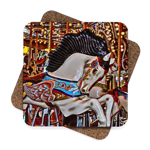 Seattle Carousel Horse Square Hardboard Coaster Set - 4pcs