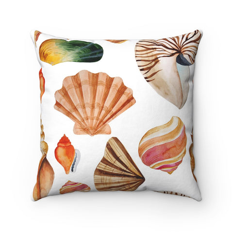 Sea Shell Beach Decorative Throw Pillow, Beach Theme Throw Pillow, Throw Pillow for Beach House, Tropical Decor