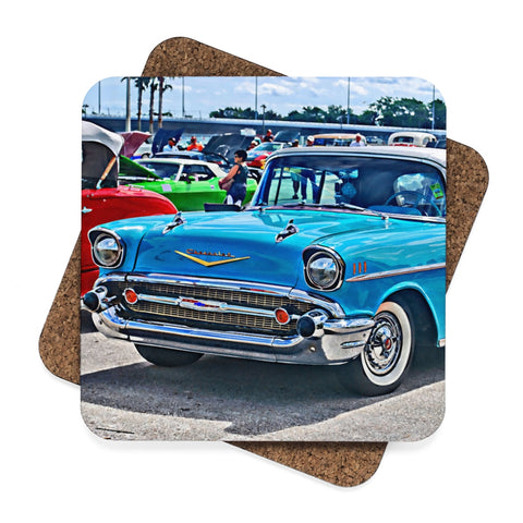 tri-five hot rod drink coasters