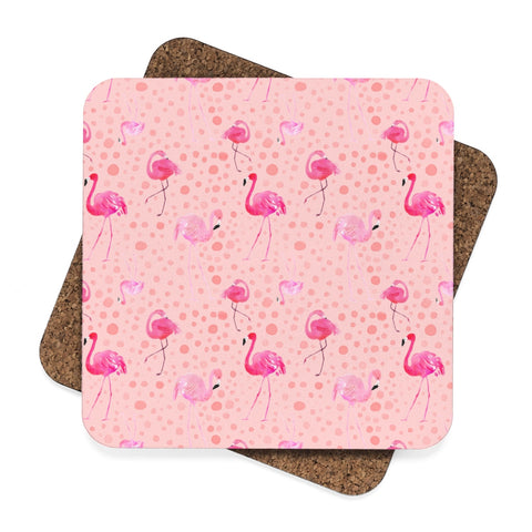 Tropical Flamingo Beach Square Hardboard Coaster Set - 4pcs