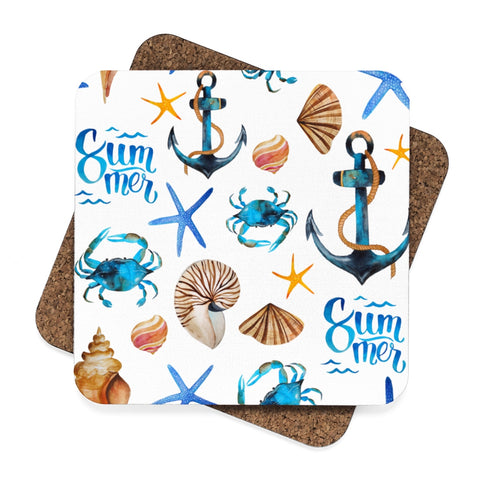 Summer Beach Square Hardboard Coaster Set - 4pcs