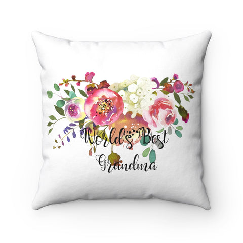 World's Best Grandma Spun Polyester Square Pillow, Pink Rose Throw Pillow, Throw Pillow for Grandma