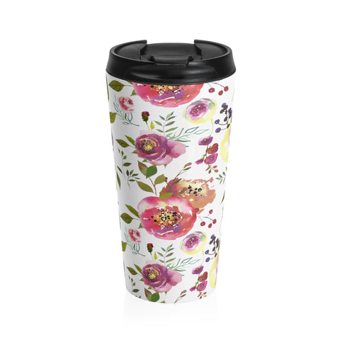 Watercolor Pink Rose Stainless Steel Travel Mugs for Women 15oz