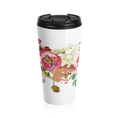 Rose Spray Flower Stainless Steel Travel Mugs for Women