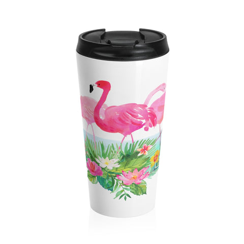 Tropical Flowers and Pink Flamingo Stainless Steel Travel Mugs 15 oz