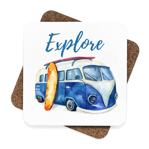 VW Explore Surf Wagon Beach Sunglasses Square Hardboard Coaster Set - 4pcs
