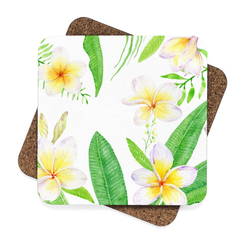 Plumeria Square Hardboard Coaster Set - 4pcs