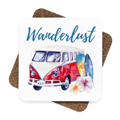 VW Wanderlust Surf Wagon Beach Sunglasses Square Hardboard Coaster Set - 4pcs