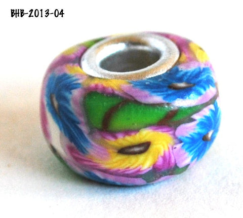 Blue and Pink Flower Bead with Metal Core Euro Style Big Hole Jewelry