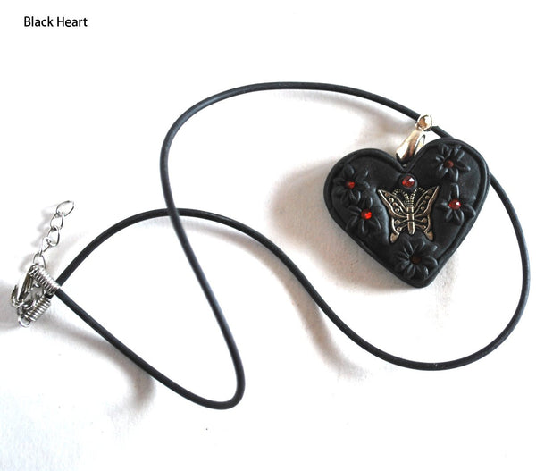 Handmade Polymer Clay Black Heart with Butterfly Pendant Necklace for Teens