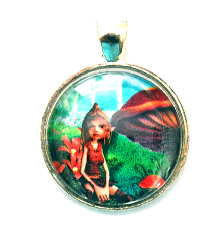 Fairy 25mm Silvertone Glass Dome Pendant Jewelry Supplies DIY Necklaces