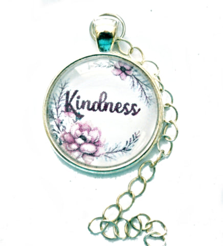Inspirational 25mm Silvertone Glass Dome Pendant Soldered Chain Jewelry Supplies