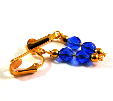 Blue Dangle Clip on Earrings for Women with Faceted Czech Beads Goldtone