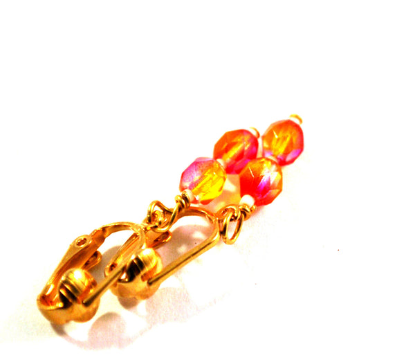 Pink and Yellow Beaded Clip on Earrings for Women, Goldtone